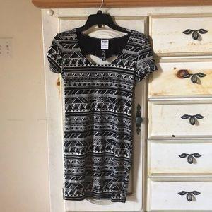 Black and White geometric print PINK bodycon dress